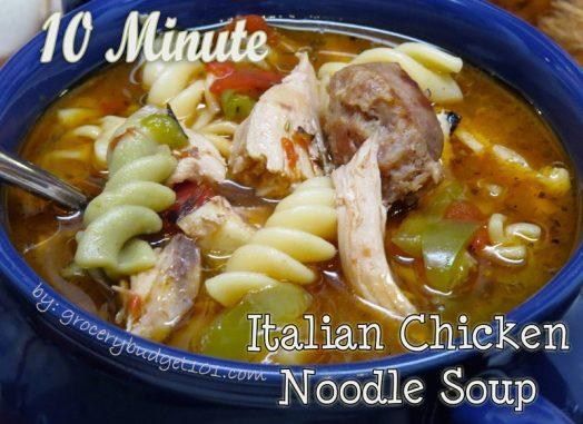 10 Minute Italian Chicken Noodle Soup