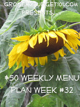 2013 $50 Weekly Menu Plan Week #32