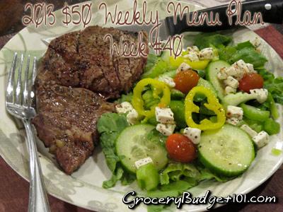 2013 $50 Weekly Menu Plan Week #40