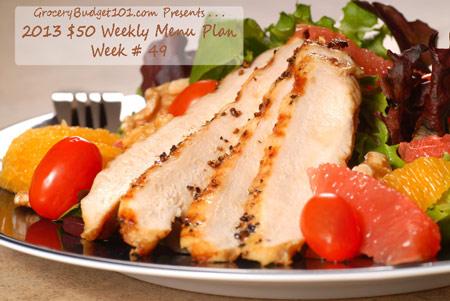 2013 $50 Weekly Menu Plan Week #49