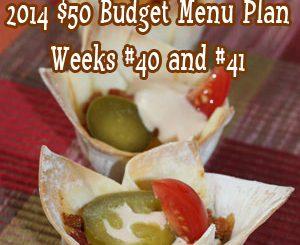 2014 $50 Budget Menu Plan Weeks #40 and #41