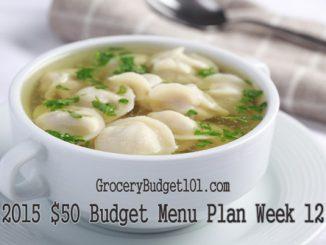 2015 $50 Budget Menu Plan Week 12