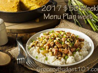 2017 $50 Budget Menu Plan Week 1