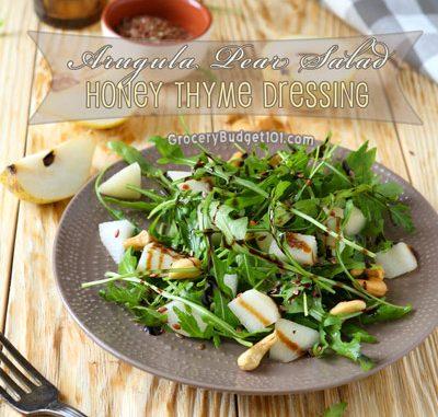 Arugula Pear Salad with Honey Thyme Dressing