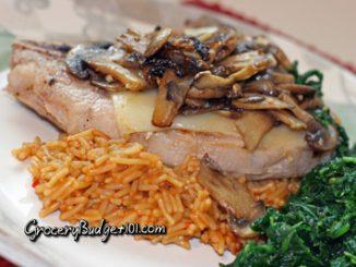 cowboy pork chops over bbq rice attachment