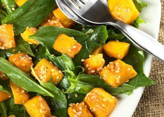 Honey Roasted Pumpkin Spinach Salad